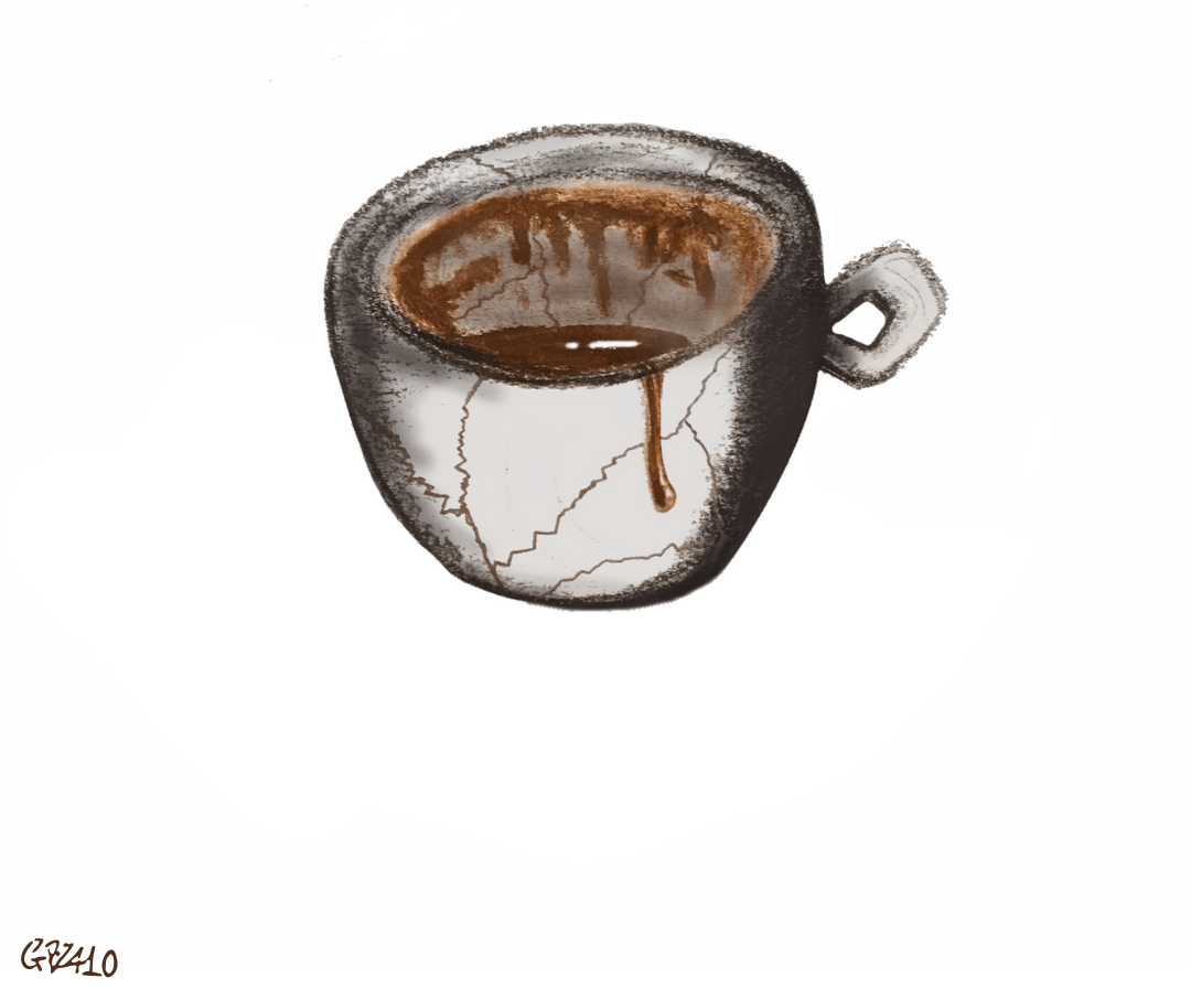 tazzina di caffè rotta