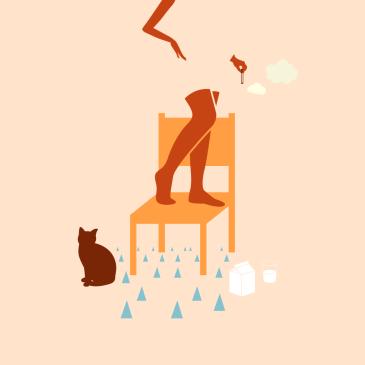 illustrazione sedia gatto